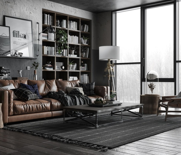 leather seating  3d render realism watch desk office