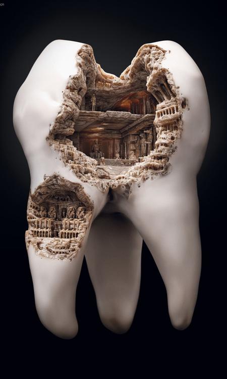 tooth city decay 3d model design sculpture render realistic