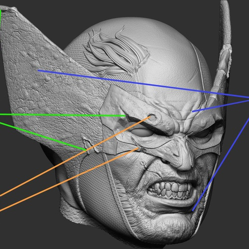 marvel wolverine 3d sculpture head