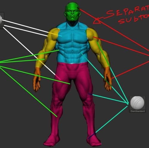 muscle male model sculpture 3d