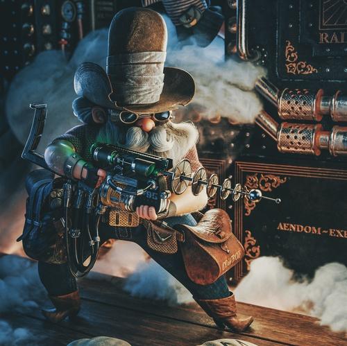 laser cowboy sci-fi western 3d
