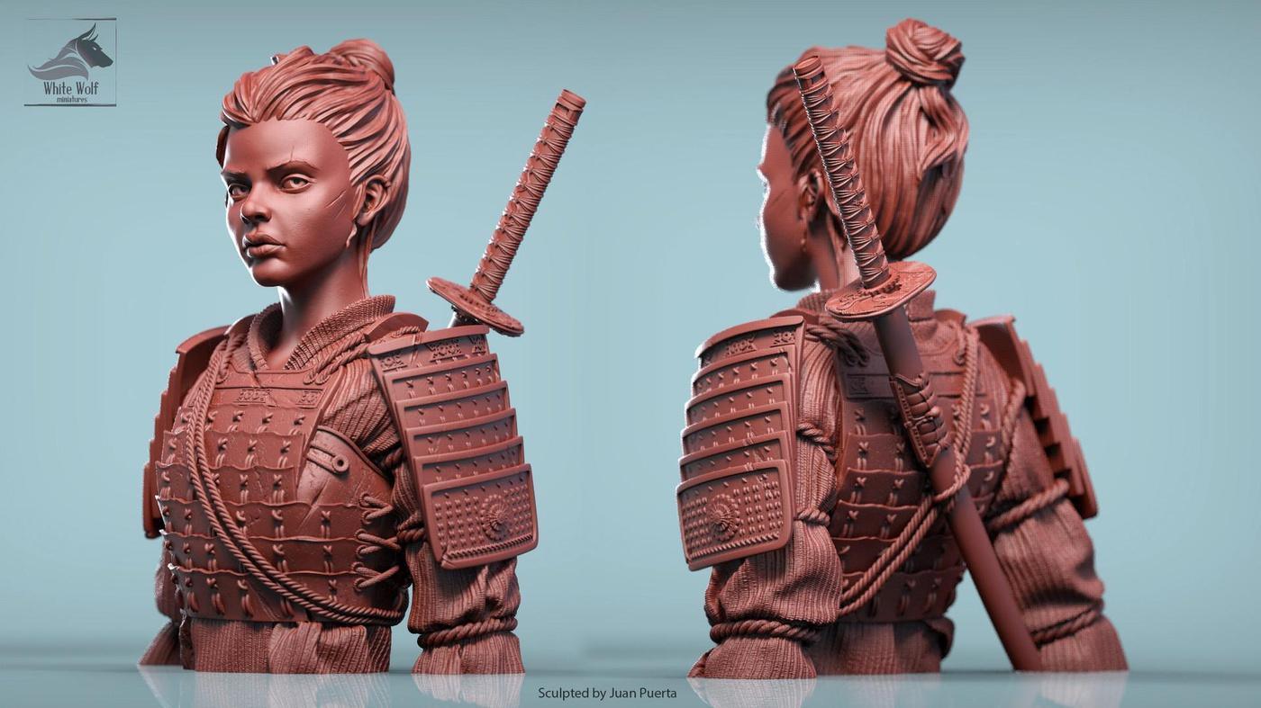 female samurai 3d japanese model