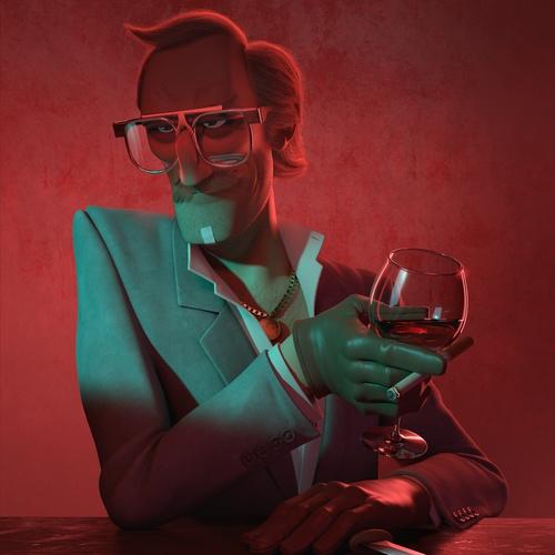 male character wine glass glasses posh 3d model design