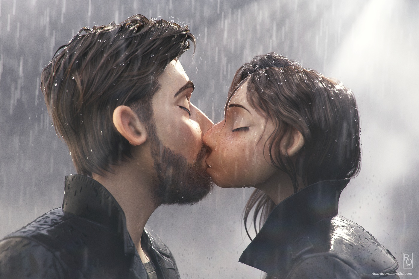 romantic scene kissing design