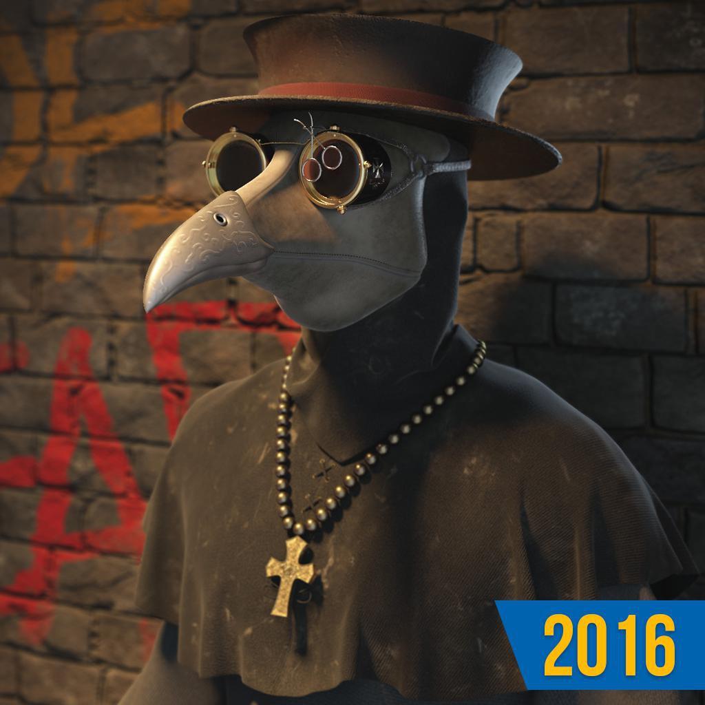 3d model character design render plague doctor
