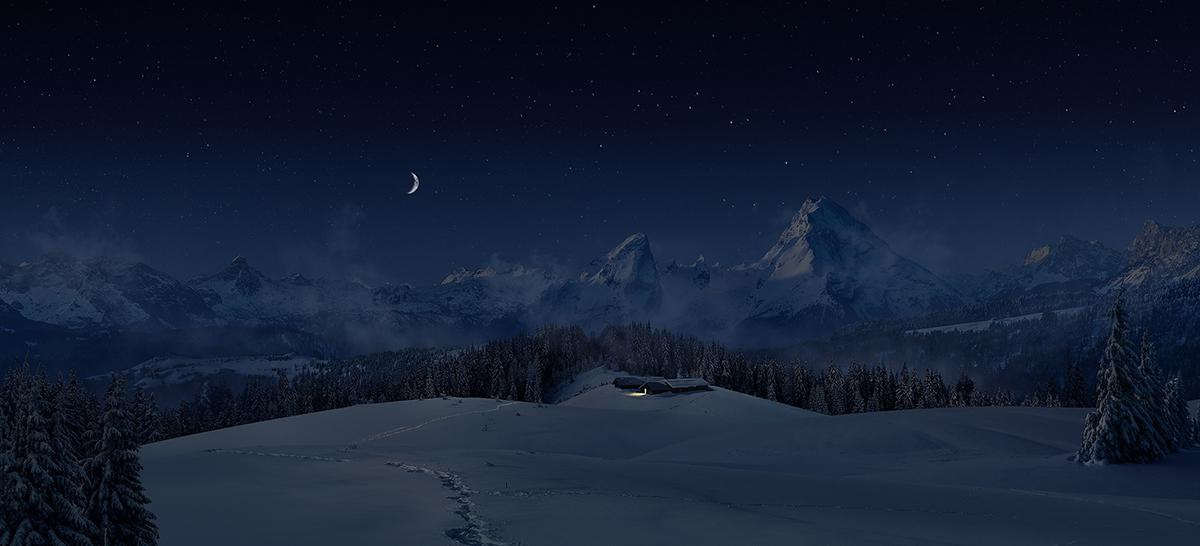 night sky snowy landscape