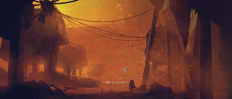 Cyberpunk A lone figure wanders the wastes
