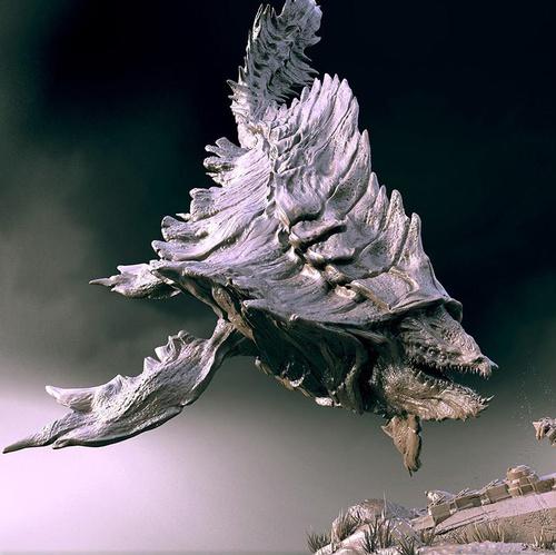 alien whale fish sea creature leviathan 3d art