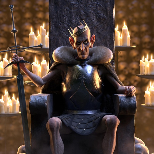 male king on throne 3d render