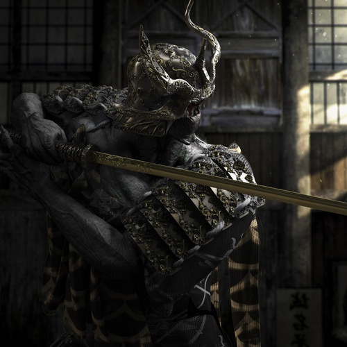 statue samurai male figure