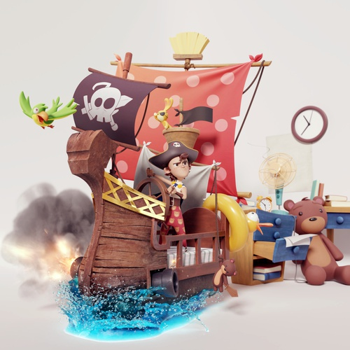 boy with pirate ship 3d model character