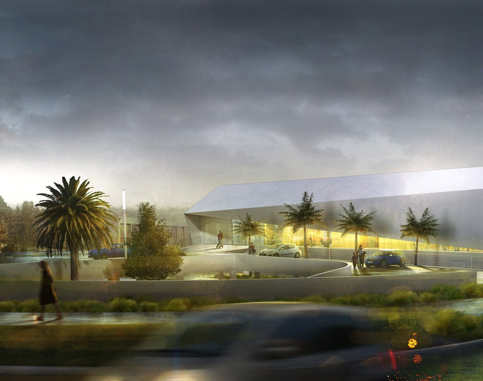 Sport's complex by rainy dayby perspective3d
