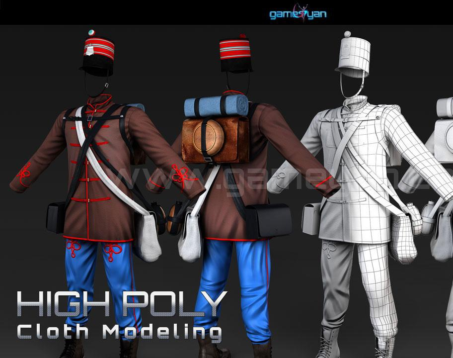 High Poly Cloth Modeling Animationby GameYan
