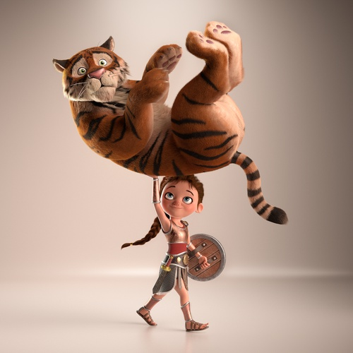 little girl as gladiator with tiger 3d