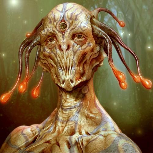 three eyed alien 3d art