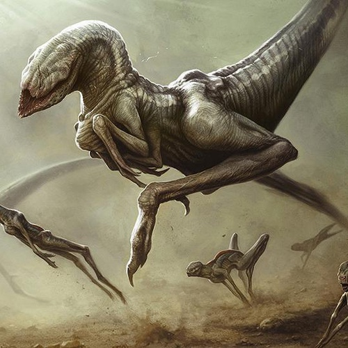 alien raptor dinosaur hunting 3d art