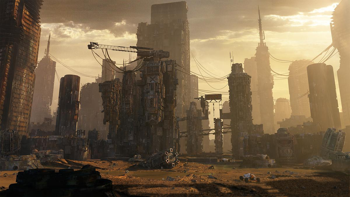 post-apocalyptic dystopian desert art
