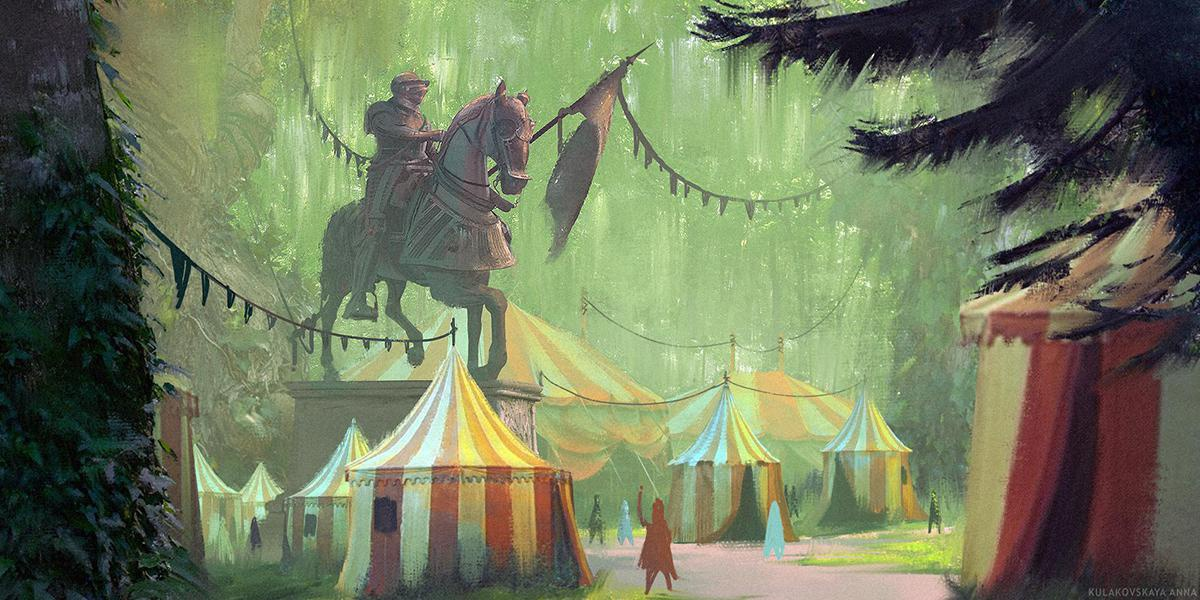festival in woods 2d digital painting