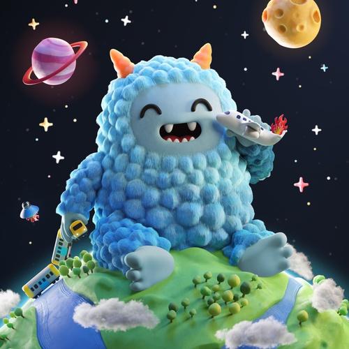 blue fluffy monster 3d model