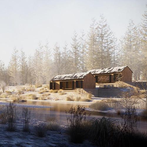 sunny winter cabin scenery