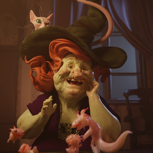 character 3d model design witch