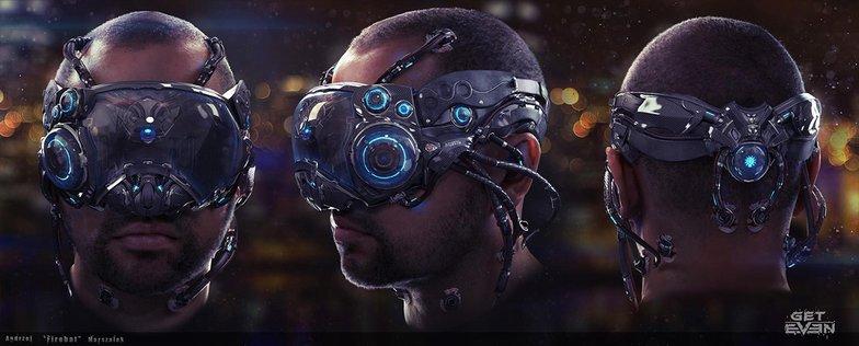 Cyberpunk man with vr headset