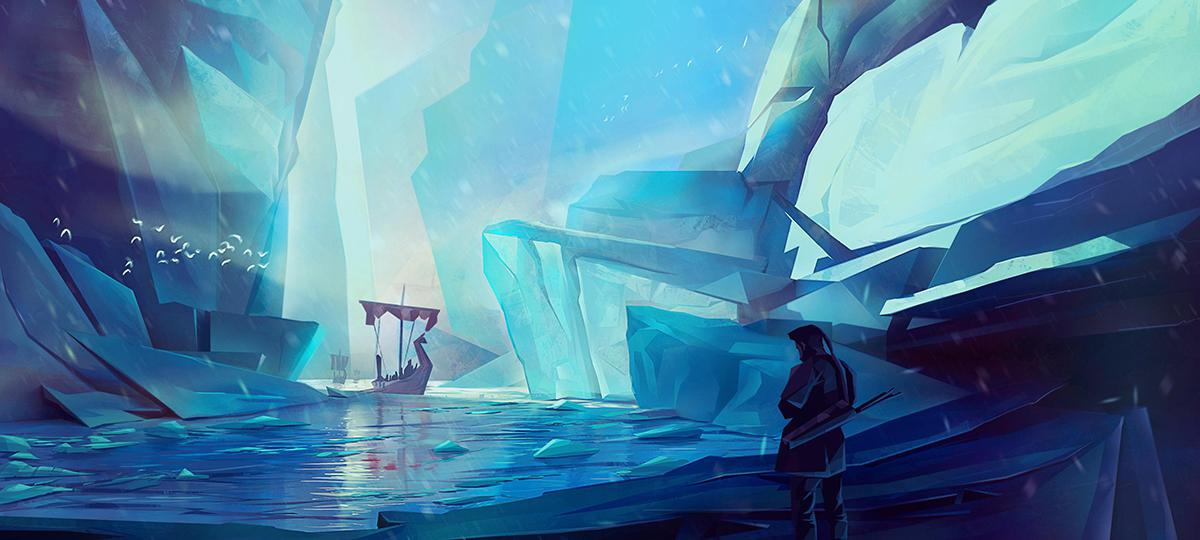 winter ice glacier 2d illustration