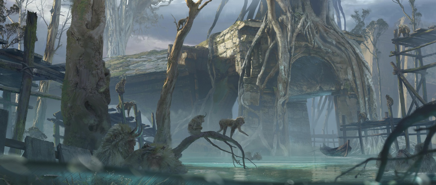 overgrown setting environment 2d character primate jungle temple