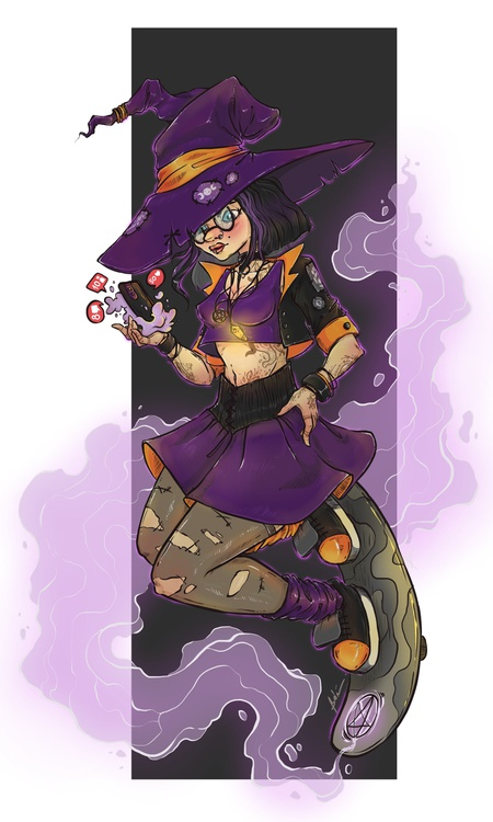 social media 2d illustration modern witch young female character