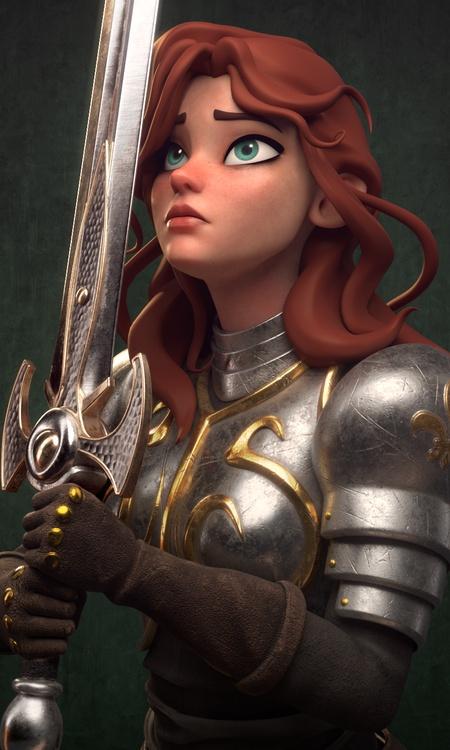 3d model stylised render red head female character design