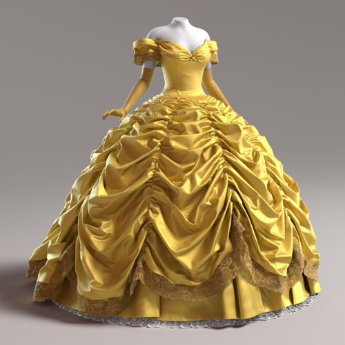 belle disney beauty and the beast 3d model character design