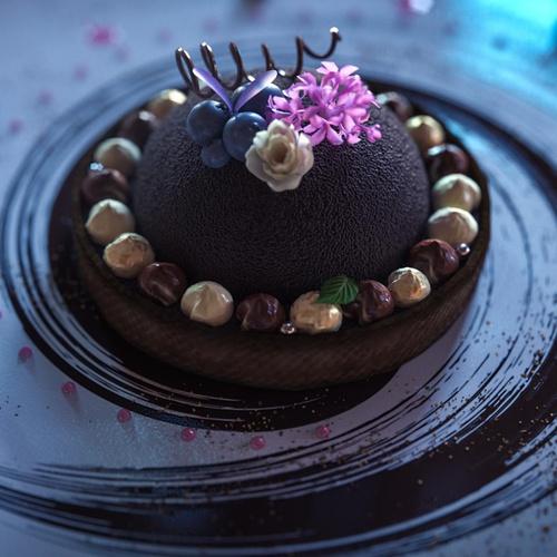 cake photography food 3d model render advert