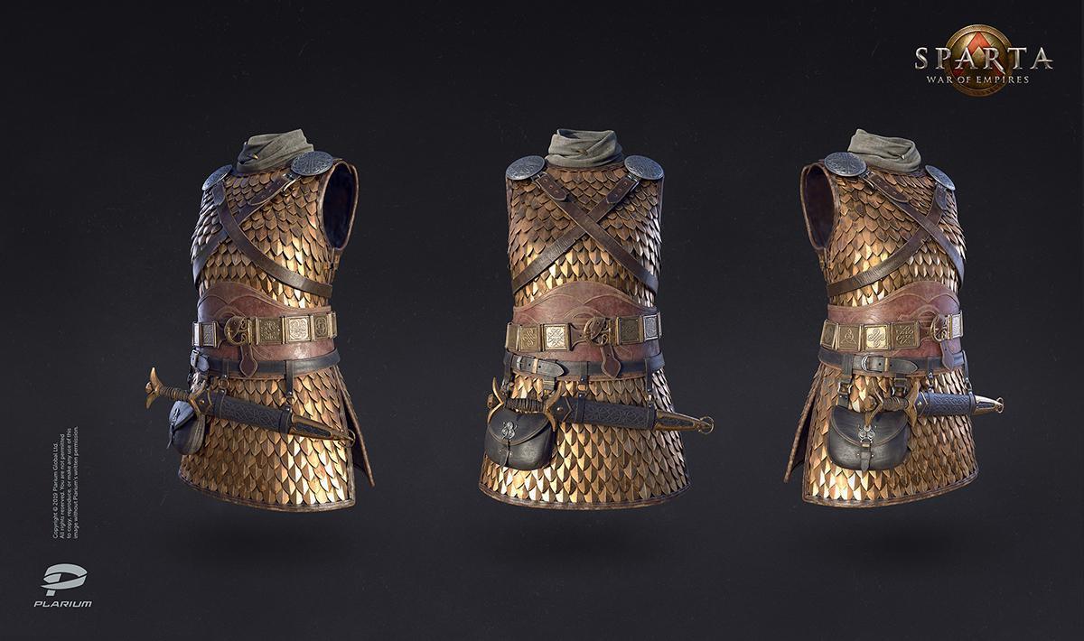 sparta warrior uniform 3d model