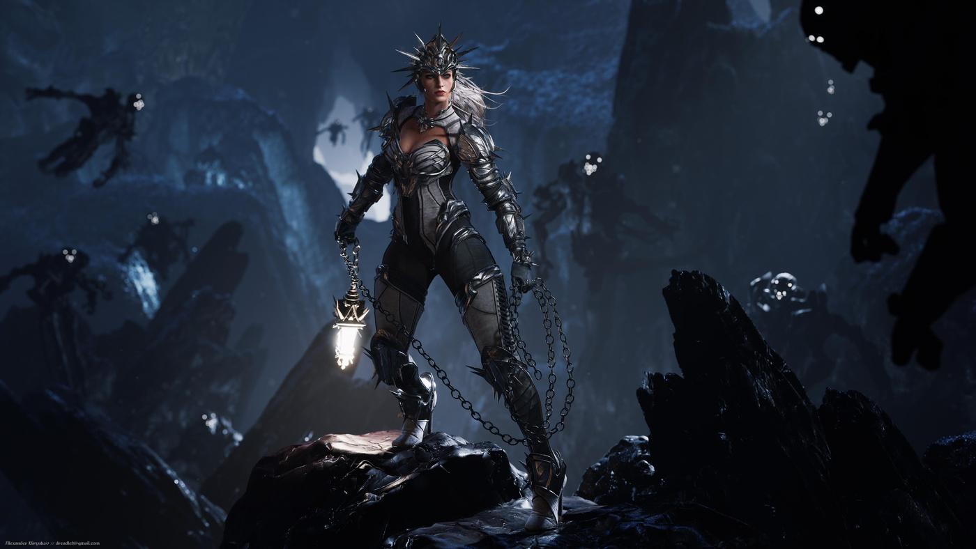 female tough warrior armoured