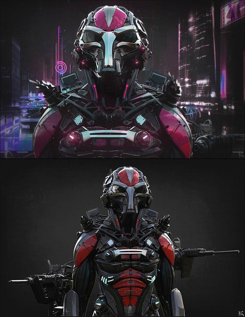 cyberpunk battle suit