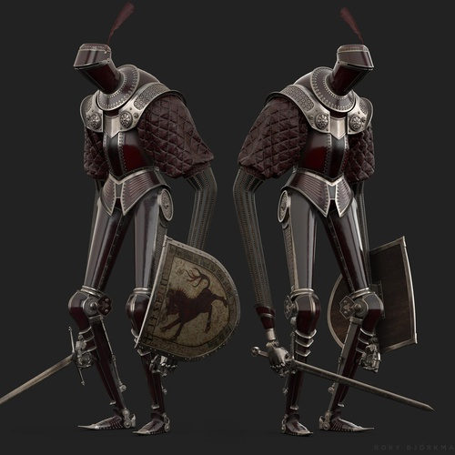 red armoured knight shield 3d