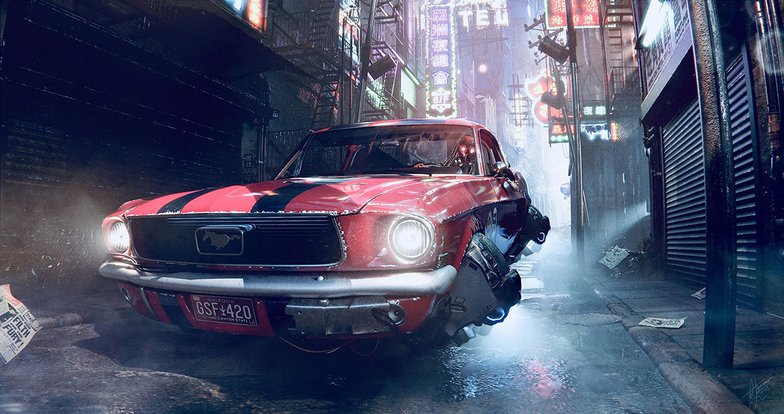 cyberpunk hover-car