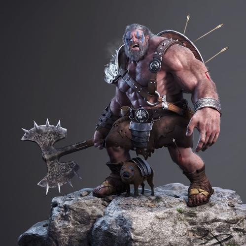 barbarian tough warrior sculpture