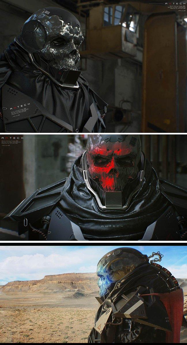 Cyberpunk skull cyborg