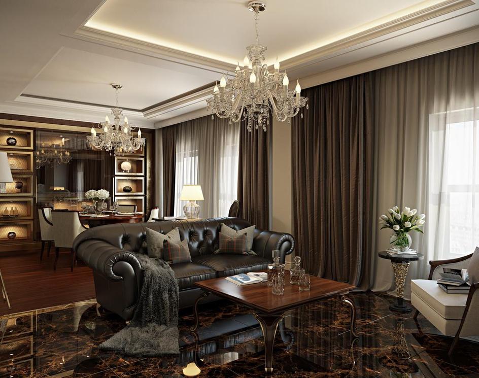 Elegant living room: 3d visualization by Archicgi