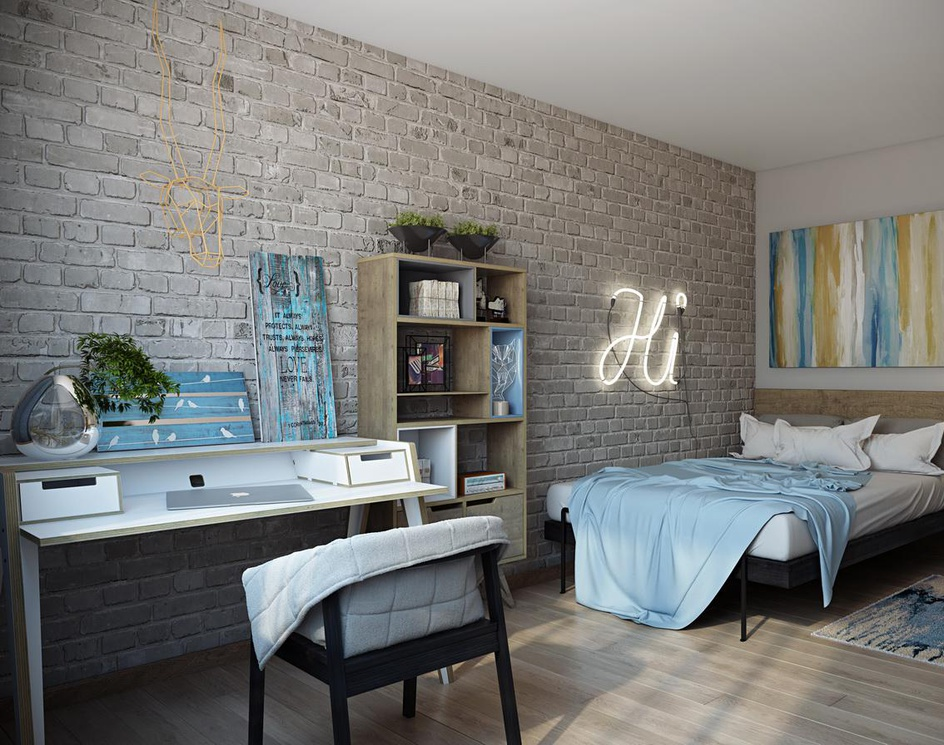 Unusual bedroom: 3d renderingby Archicgi
