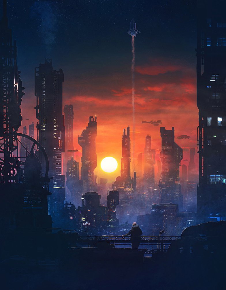 Cyberpunk Barcelona sky line