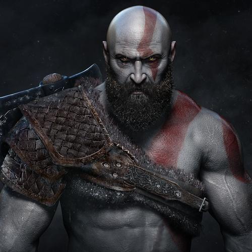 kratos god of war game fanart