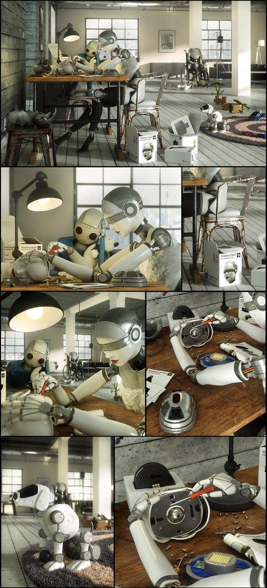 Cyberpunk robots repairing grandma