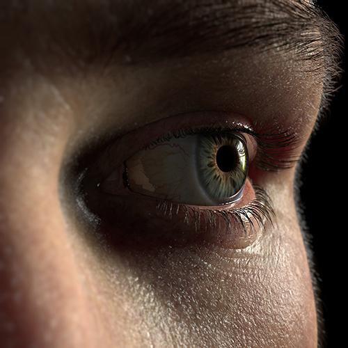 3d model close up realistic eye face detailing wrinkles skin