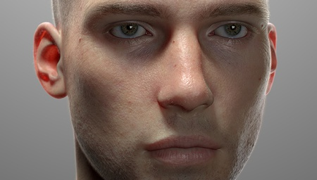 realistic face model 3d render eye facial portrait
