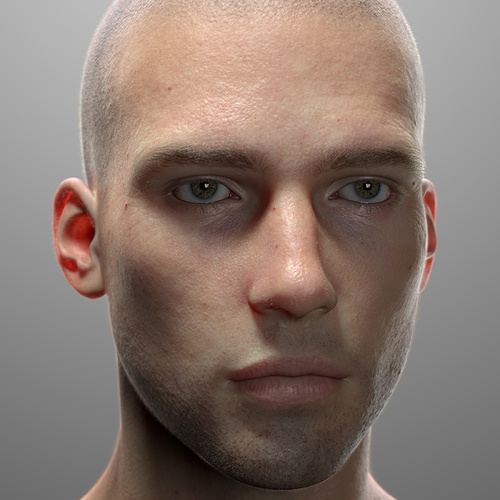 male model render 3d model close up realistic eye face detailing wrinkles skin
