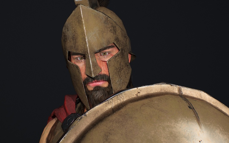 spartan hoplite up close, zoom, 3d