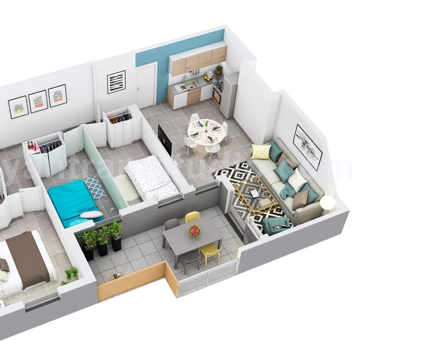 3D Home Floor Plan Design of Residential Apartment Layout by Architectural Planning Companies, Rome – Italyby Ruturaj Desai