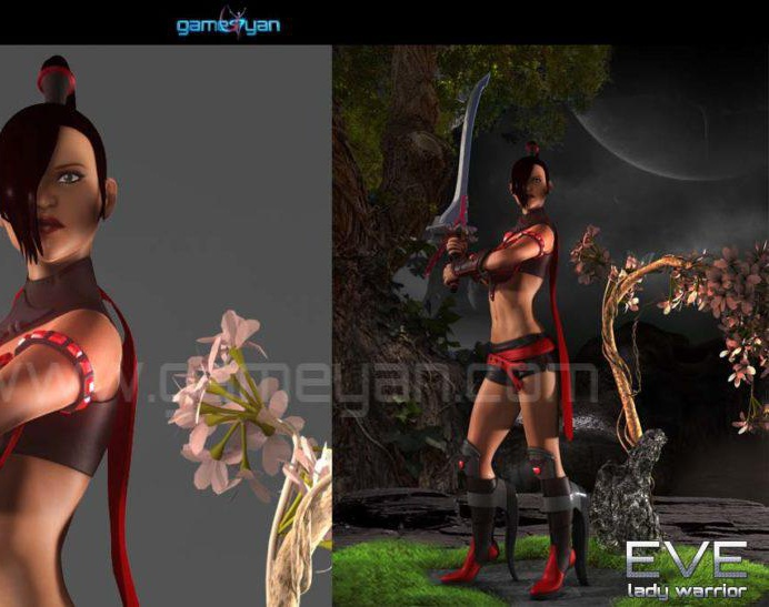 3D Eve Lady Warrior Character Animation By GameYan 3D Animation Studioby GameYan